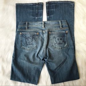 COH Bunny and Skull Embroidered Jean Bootcut 27/34